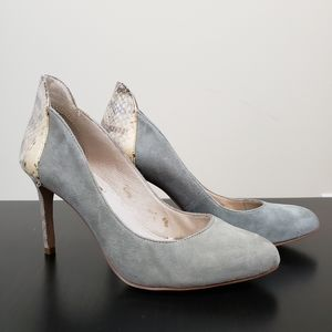 Grey Suede and Snake Skin Heels